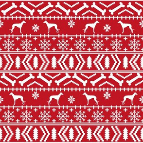 Whippet fair isle christmas dog silhouette fabric red