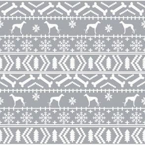 Whippet fair isle christmas dog silhouette fabric grey