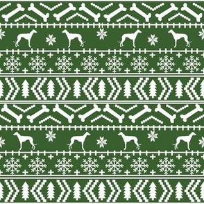 Whippet fair isle christmas dog silhouette fabric med green