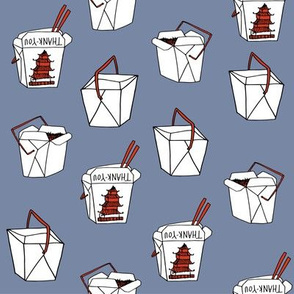 takeout rice fabric // food new york-style chinese food design rice cuisine fast foods - dusty blue