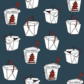 takeout rice fabric // food new york-style chinese food design rice cuisine fast foods - navy