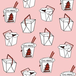 takeout rice fabric // food new york-style chinese food design rice cuisine fast foods - medium pink