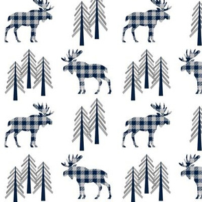 Woodland Moose Baby Design – Navy + Grey Plaid Buffalo Plaid Check Forest Baby Boy Nursery Bedding