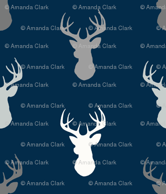 Deer - starlit - grey and white on navy