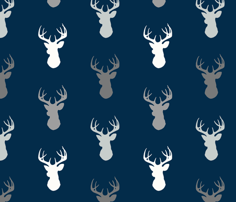 Deer - starlit - grey and white on navy fabric by sugarpinedesign on Spoonflower - custom fabric