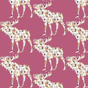 "3"" Floral Moose Silhouettes on Mauve"