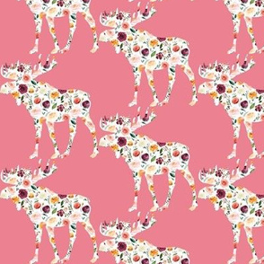 "3"" Floral Moose Silhouettes on Pink"