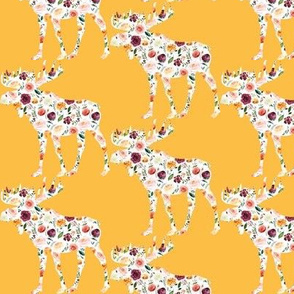 "3"" Floral Moose Silhouettes on Mustard"