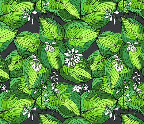 Hosta Garden | varigated greens fabric by shiere on Spoonflower - custom fabric