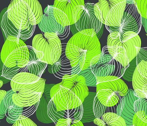 Hosta Leaves | Greens on dark gray fabric by shiere on Spoonflower - custom fabric