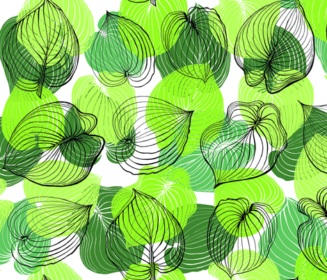 Hosta Leaves | Greens on white fabric by shiere on Spoonflower - custom fabric
