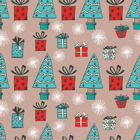 Holly Jolly Christmas - Presents & Trees fabric by diane555 on Spoonflower - custom fabric