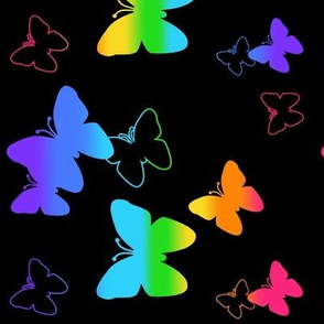 Rainbow Butterfly Neon Blacklight Glow