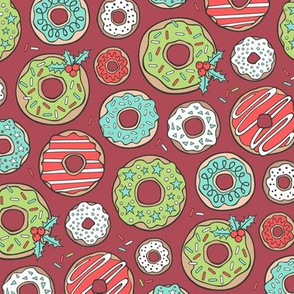 Christmas Holidays Donuts with Stars & Sprinkles on Red
