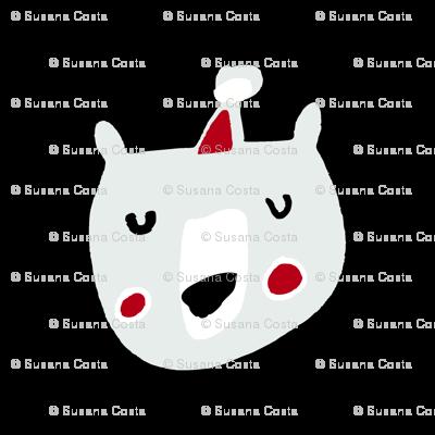Cute Christmas santa bear white