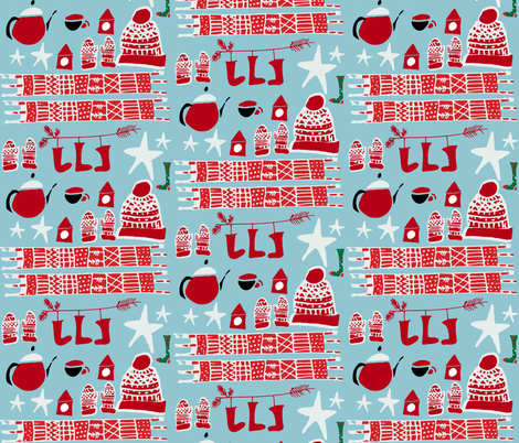 holiday winter gear blue fabric by bruxamagica on Spoonflower - custom fabric