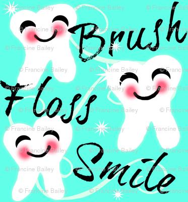 Brush Floss Smile - dental -Retro /Aqua blue