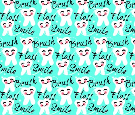 Brush Floss Smile - dental -Retro /Aqua blue  fabric by franbail on Spoonflower - custom fabric