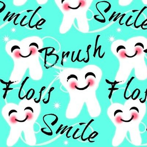 Brush Floss Smile - dental -Retro /Aqua blue