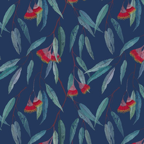Eucalyptus leaves and flowers on blue /1/ scale
