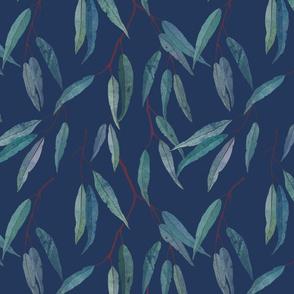 Eucalyptus leaves on blue /1/ scale