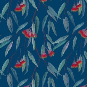 Eucalyptus leaves and flowers on blue /2/ scale