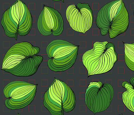 Hosta Leaves | Greens varigated on dark gray  fabric by shiere on Spoonflower - custom fabric