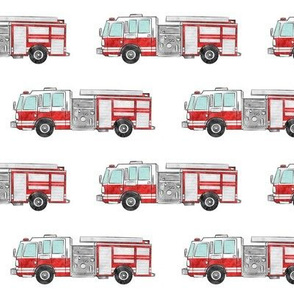 watercolor firetrucks