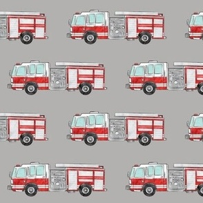 watercolor firetrucks - grey