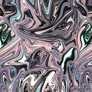 Pink black and aqua marbled swirl