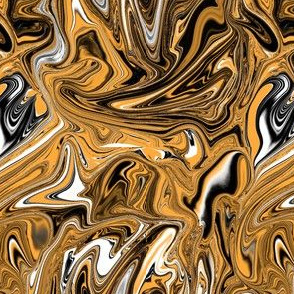 Black and orange marbled swirl