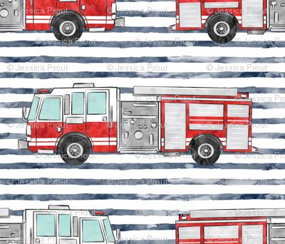 watercolor firetruck - navy stripes