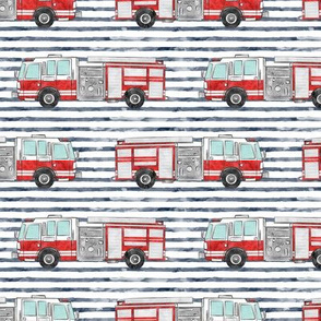 watercolor firetruck - navy stripes