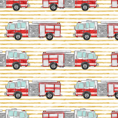 watercolor firetruck on gold stripes fabric by littlearrowdesign on Spoonflower - custom fabric