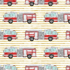 watercolor firetruck on gold stripes