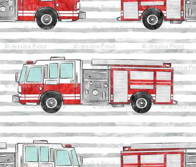 watercolor firetruck on stripes