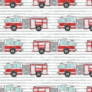 watercolor firetruck on stripes