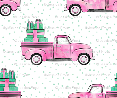 vintage truck with gifts - watercolor bright pink
