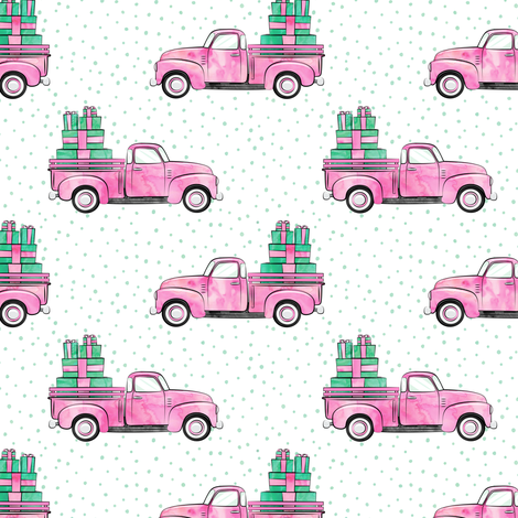 vintage truck with gifts - watercolor bright pink fabric by littlearrowdesign on Spoonflower - custom fabric