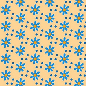 Fall for Cats -blue flowers & dots
