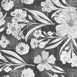 Slate gray, Block Print Botanical