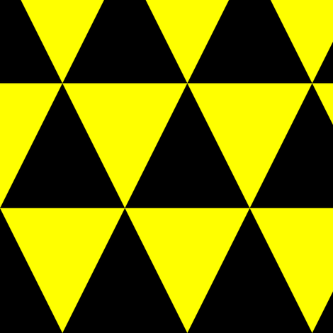 Three Inch Yellow and Black Triangles fabric by mtothefifthpower on Spoonflower - custom fabric