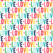 love rainbow with navy UPPERcase