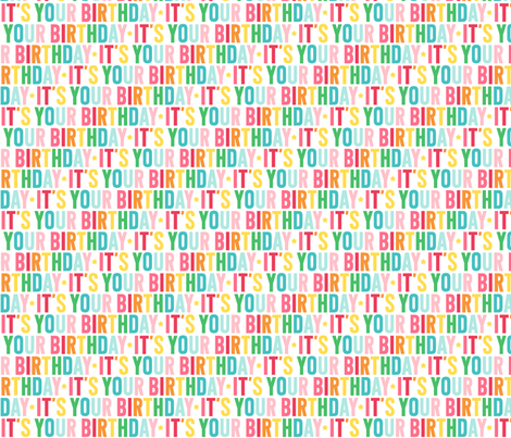 it's your birthday // rainbow with light pink fabric by misstiina on Spoonflower - custom fabric