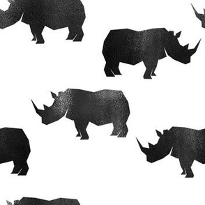 Rhinocerus, Black on white rhino wild animal
