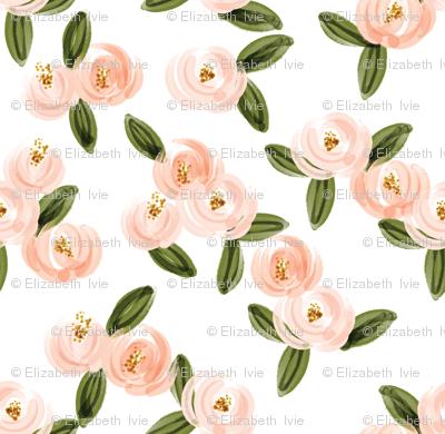 blush watercolor rosette // small