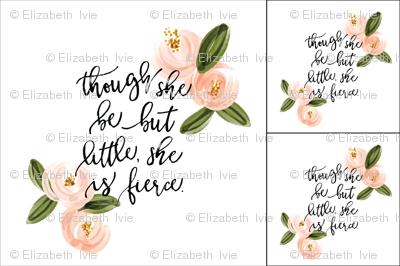 1 blanket + 2 loveys: though she be but little she is fierce // coral watercolor rosette