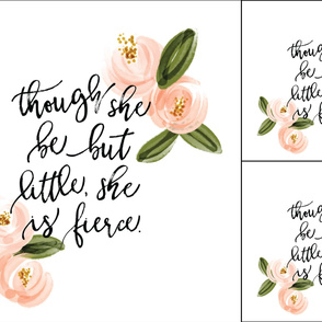1 blanket + 2 loveys: though she be but little she is fierce // coral watercolor rosette