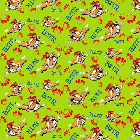 Bullies 2 the Rescue small-green fabric by holdfaststitching on Spoonflower - custom fabric