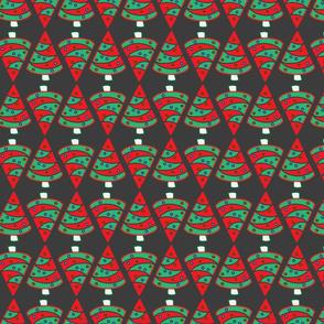 Geometric Christmas trees on black